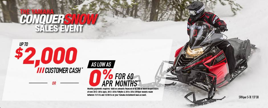 Yamaha Motor Corp., USA Yamaha Snowmobile Current Offers & Factory Financing - MY2014-2017