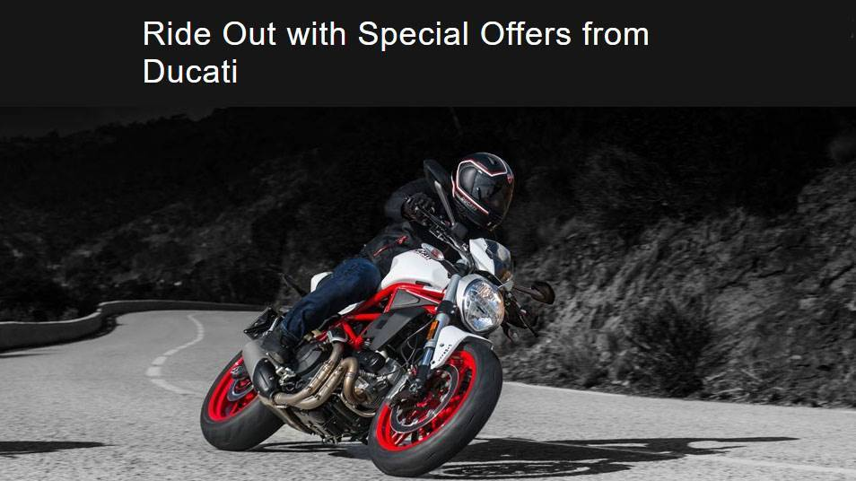 Ducati Zero Down, 0% APR for 60 months on select models