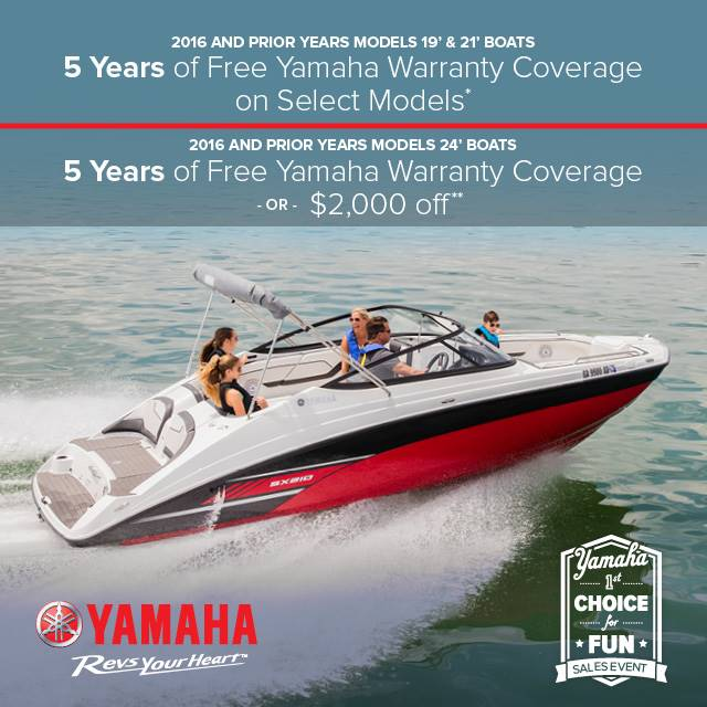 Yamaha Motor Corp., USA Yamaha Boats - 1st Choice for Fun Sales Event - Free Warranty Coverage or $2,000 Off