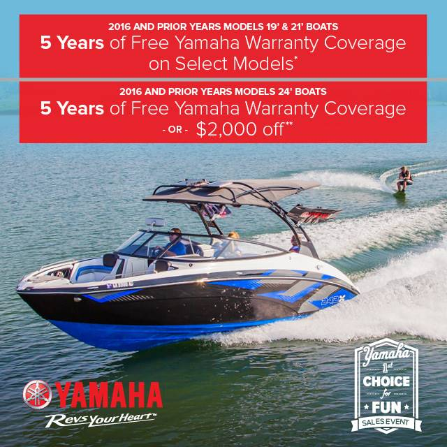 Yamaha Boats - 1st Choice for Fun Sales Event - Free Warranty Coverage or $2,000 Off