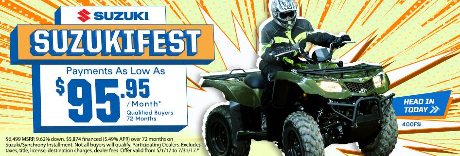 Suzuki Motor of America Inc. Suzuki Suzukifest KingQuad 400ASi and 400 FSi Payments as Low as $99.95 / Month