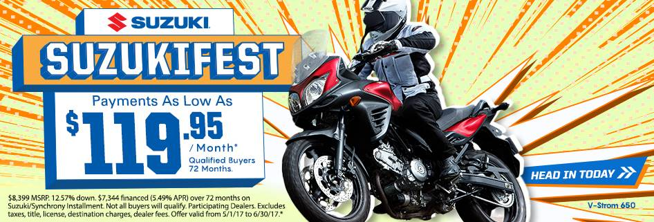 Suzuki Motor of America Inc. Suzuki Suzukifest  Motorcycle Financing as Low as 0% APR for 36 Months or Customer Cash Offer