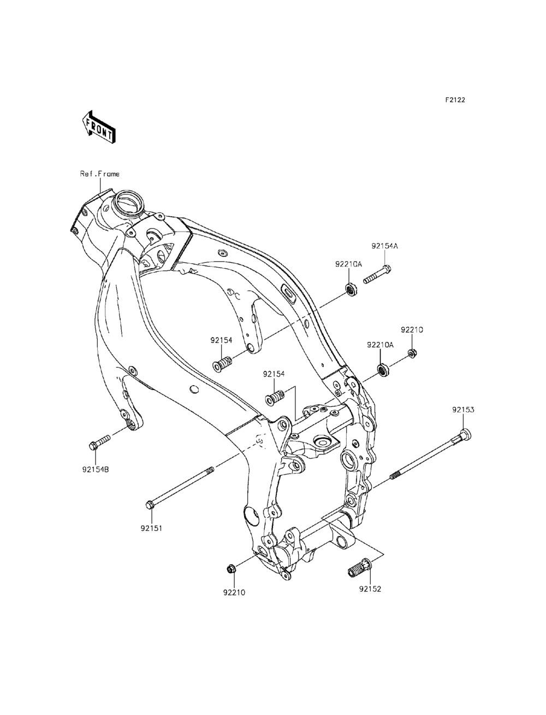 Fiche Parts Kawasaki Engine Mounting Diagrams 2015 Ninja Zx 6r 30th Anniversary Edition Zx636 Eff Mount