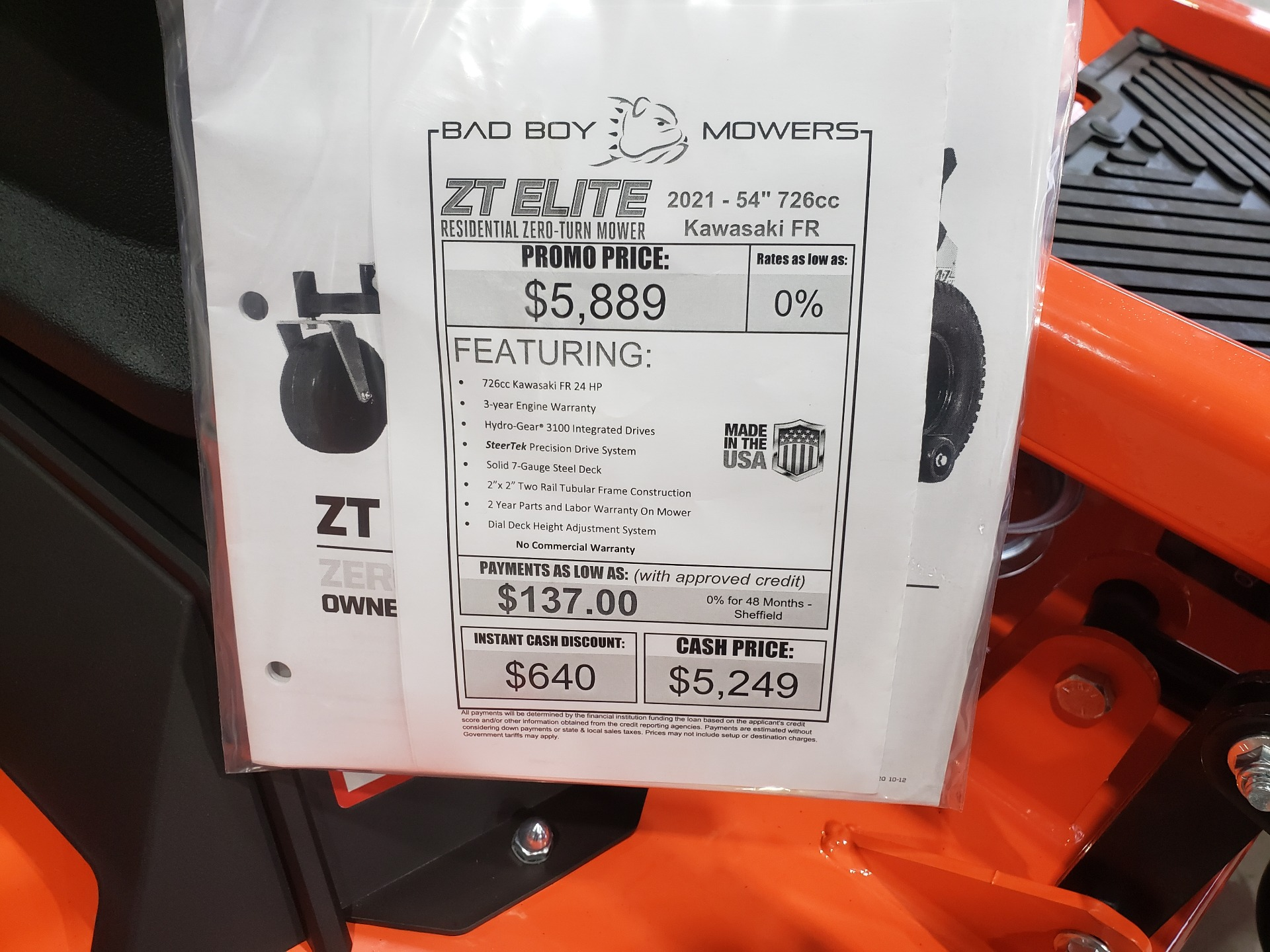 2021 Bad Boy Mowers ZT Elite 54 in. Kawasaki FR730 726 cc in Saucier, Mississippi - Photo 5