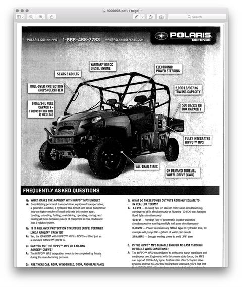 2014 Polaris Ranger Crew Diesel, Hippo in Chicora, Pennsylvania