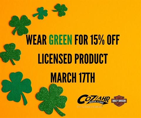 Wear Green For 15% OFF Licensed Product