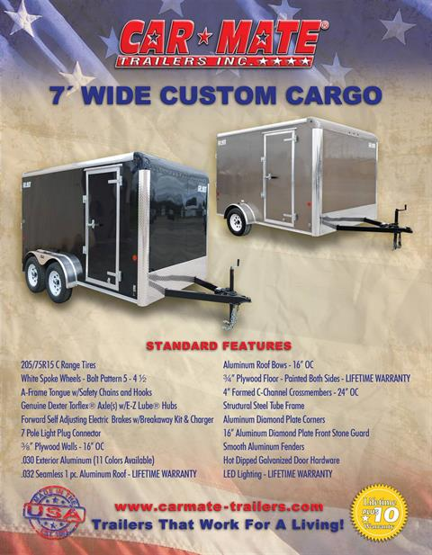 "2021 Car Mate Trailers 7x16 Enclosed Cargo Trailer Ramp +12"" in Harrisburg, Pennsylvania - Photo 14"