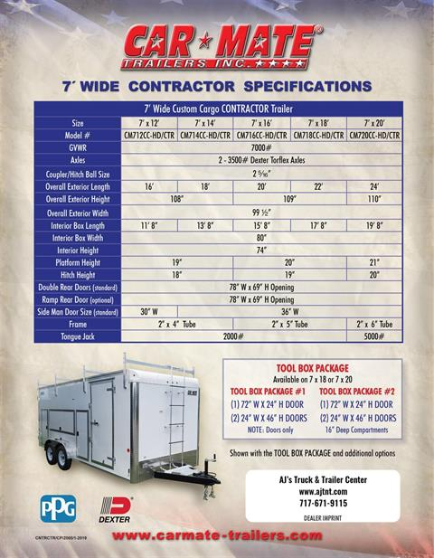 2020 Car Mate Trailers 7X16 Contractor Trailer PKG2 Double Door in Harrisburg, Pennsylvania - Photo 13