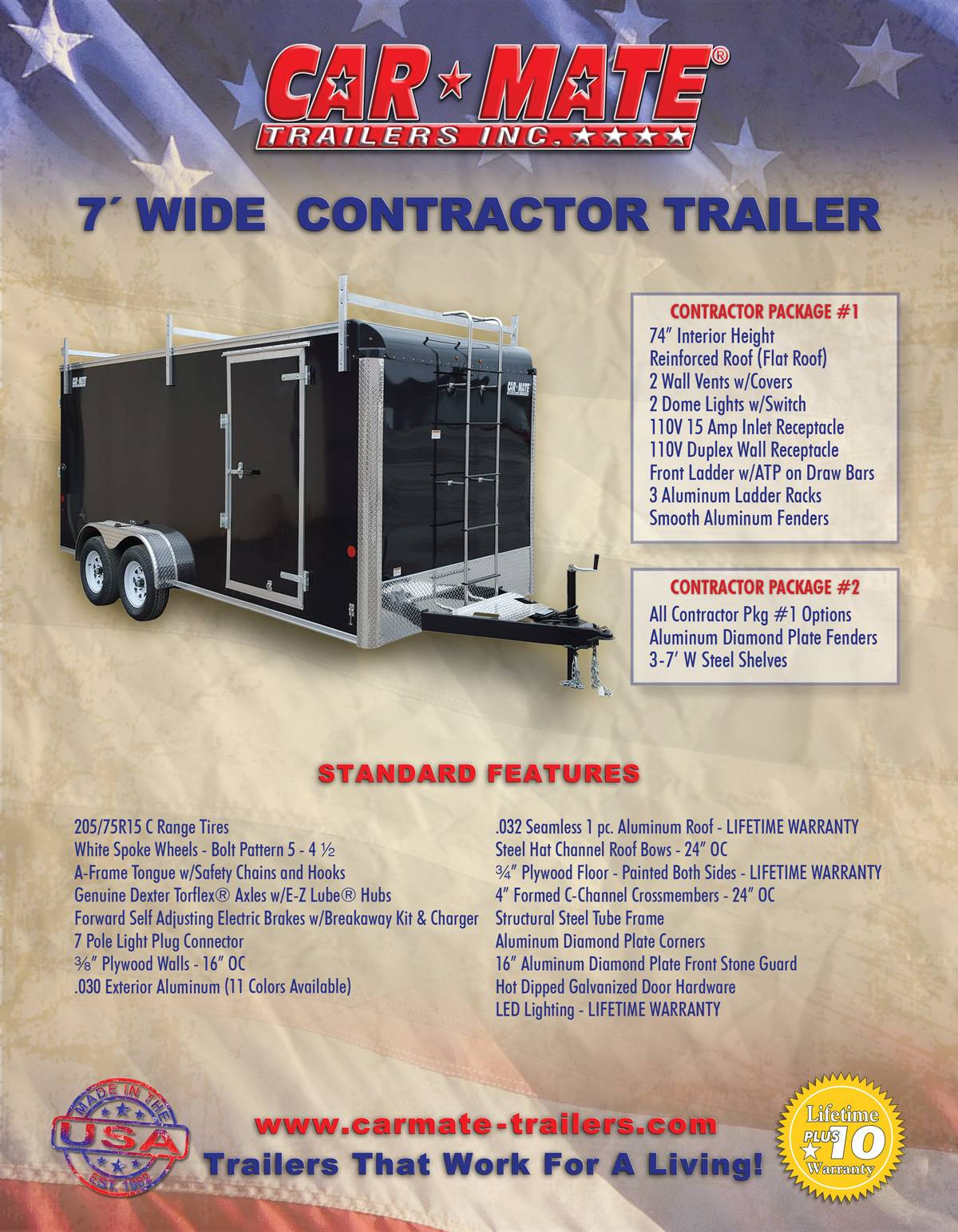 2020 Car Mate Trailers 7X16 Contractor Trailer PKG2 Double Door in Harrisburg, Pennsylvania - Photo 14