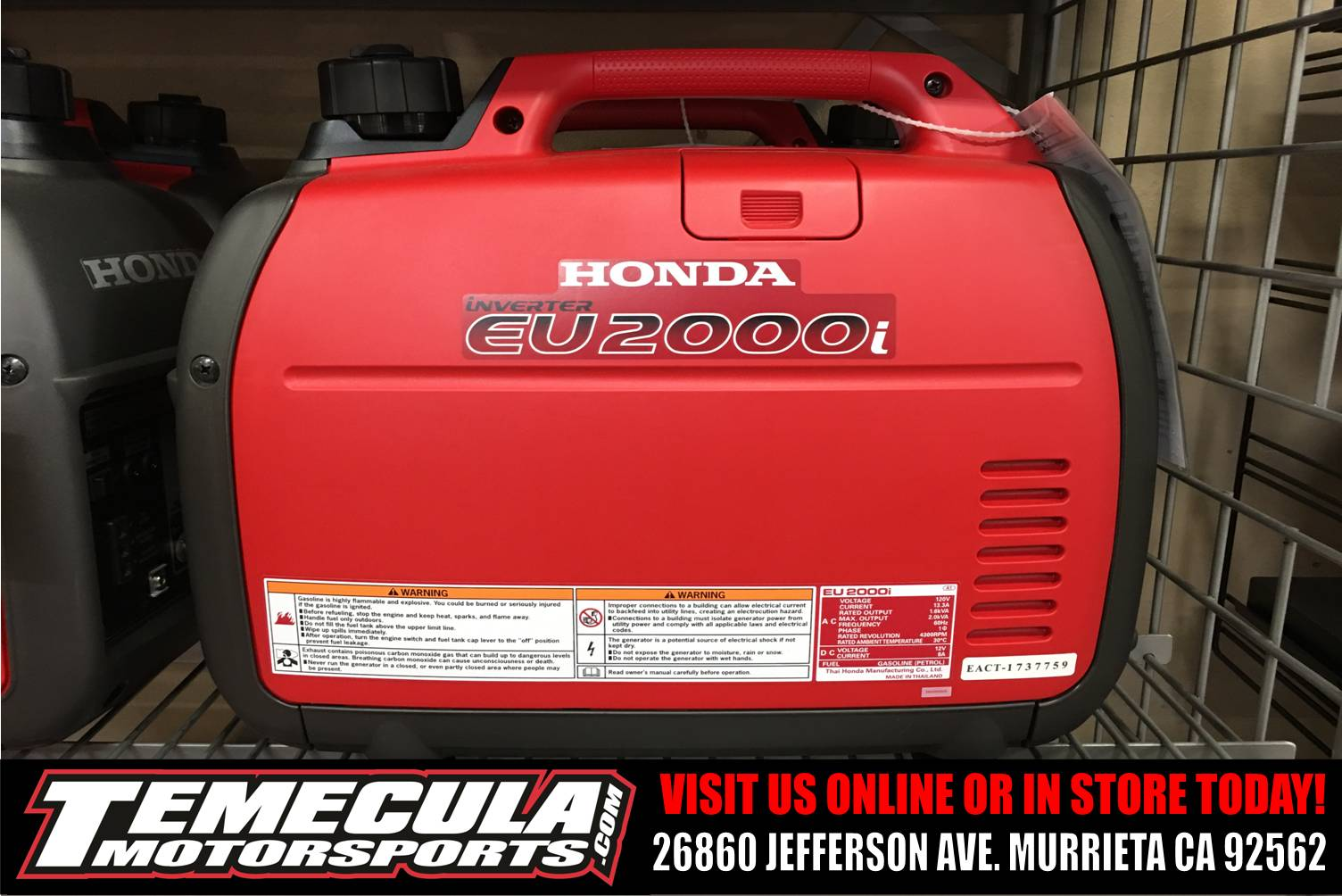 2017 Honda Power Equipment EU2000i in Murrieta, California