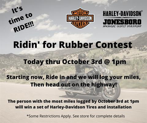 Riding for Rubber Contest now through 10/3