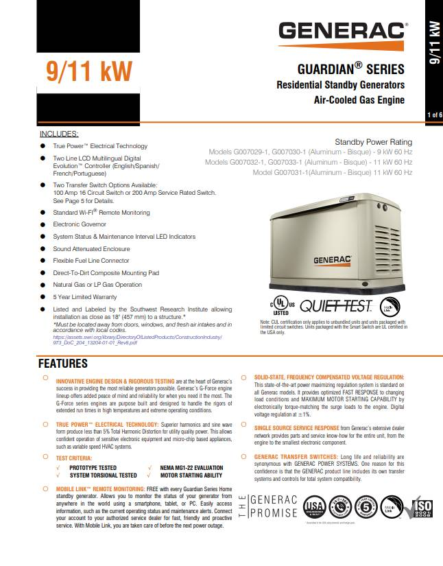 2018 Generac 11KW HOME BACKUP GENERATOR WITH FREE MOBILE LINK in Jacksonville, Florida