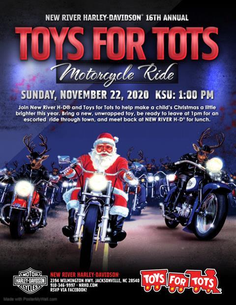 Christmas Toys For Tots Harley Davison 2020 Events at New River Harley Davidson, Jacksonville NC
