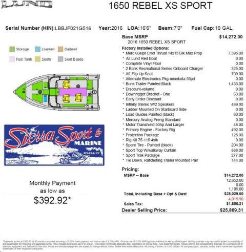 2016 Lund Z16XD - 1650 Rebel XS Sport in Sparks, Nevada