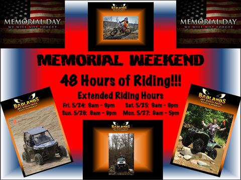 Memorial Weekend - Extended Riding Hours