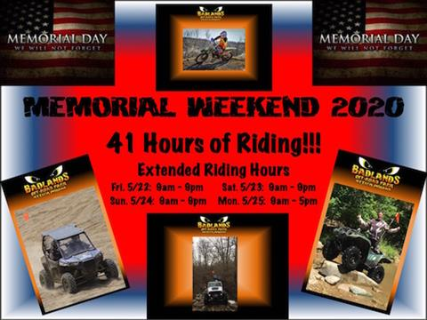 Memorial Weekend Extended Riding