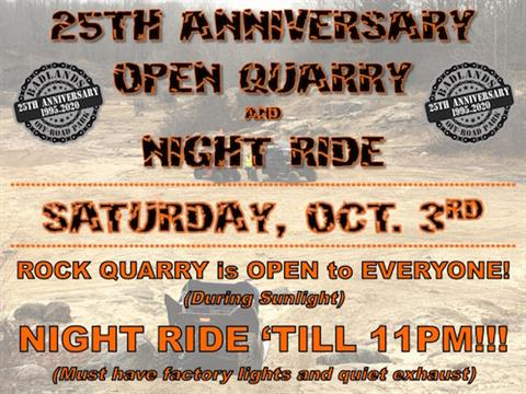 25th Anniversary Open Quarry and Night Ride