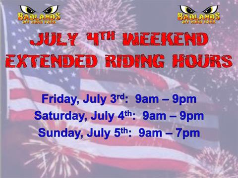 July 4th Weekend Extended Riding