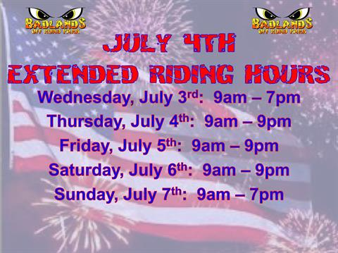 July 4th Extended Riding Long Weekend
