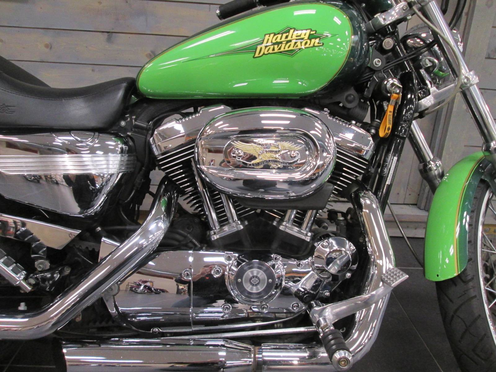 Used 2007 Harley Davidson Sportster 1200 Custom Motorcycles In Kokomo In K458872 Two Tone Dark Green Envy Pearl Light Green Envy