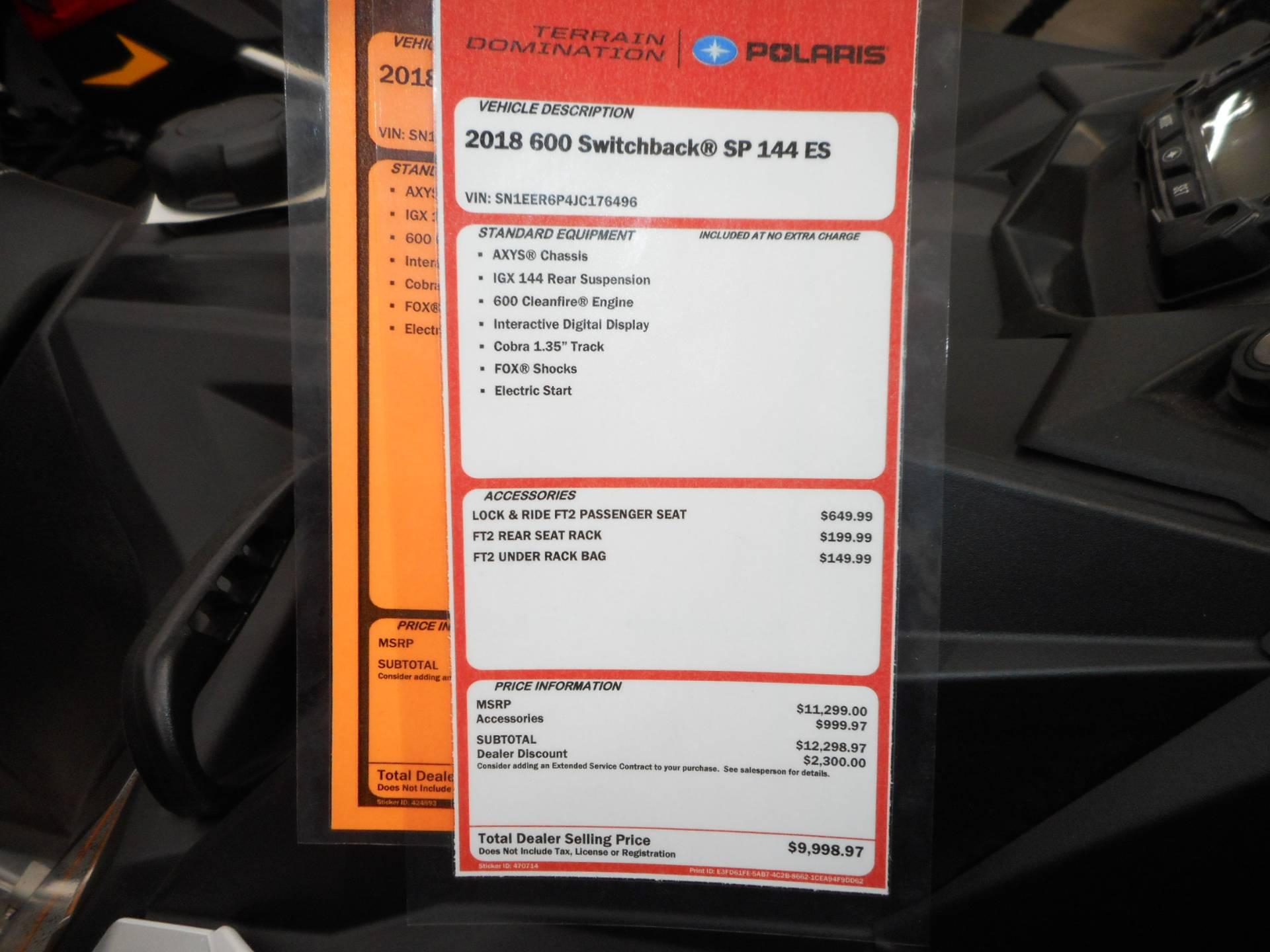 2018 Polaris 600 Switchback SP 144 ES 12
