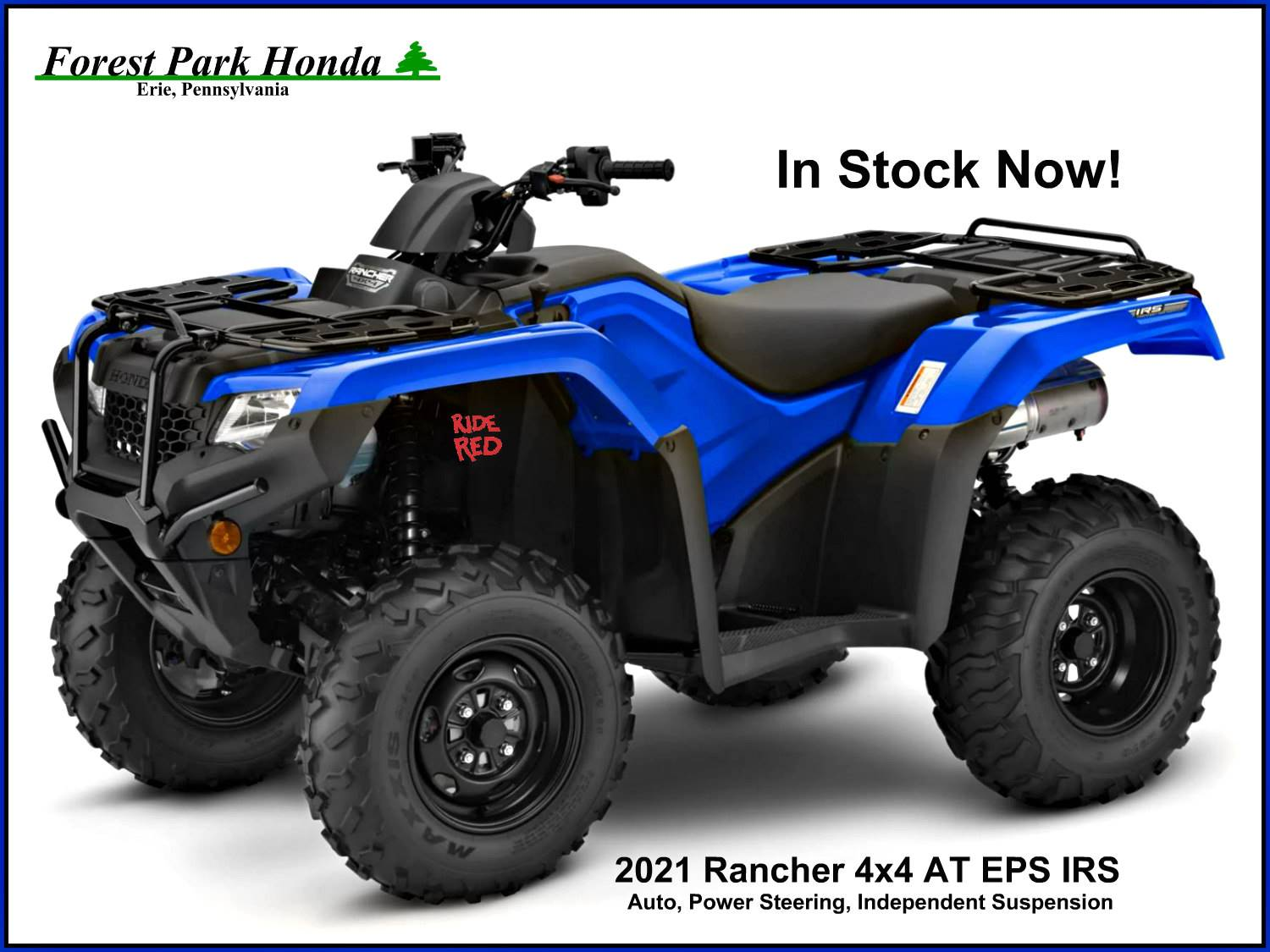 2021 Honda FourTrax Rancher 4x4 Automatic DCT IRS EPS in Erie, Pennsylvania - Photo 1