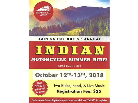 5th Annual Indian Motorcycle Summer Ride!