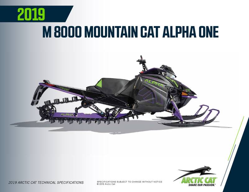 2019 Arctic Cat M 8000 Mountain Cat Alpha One 154 in Mazeppa, Minnesota