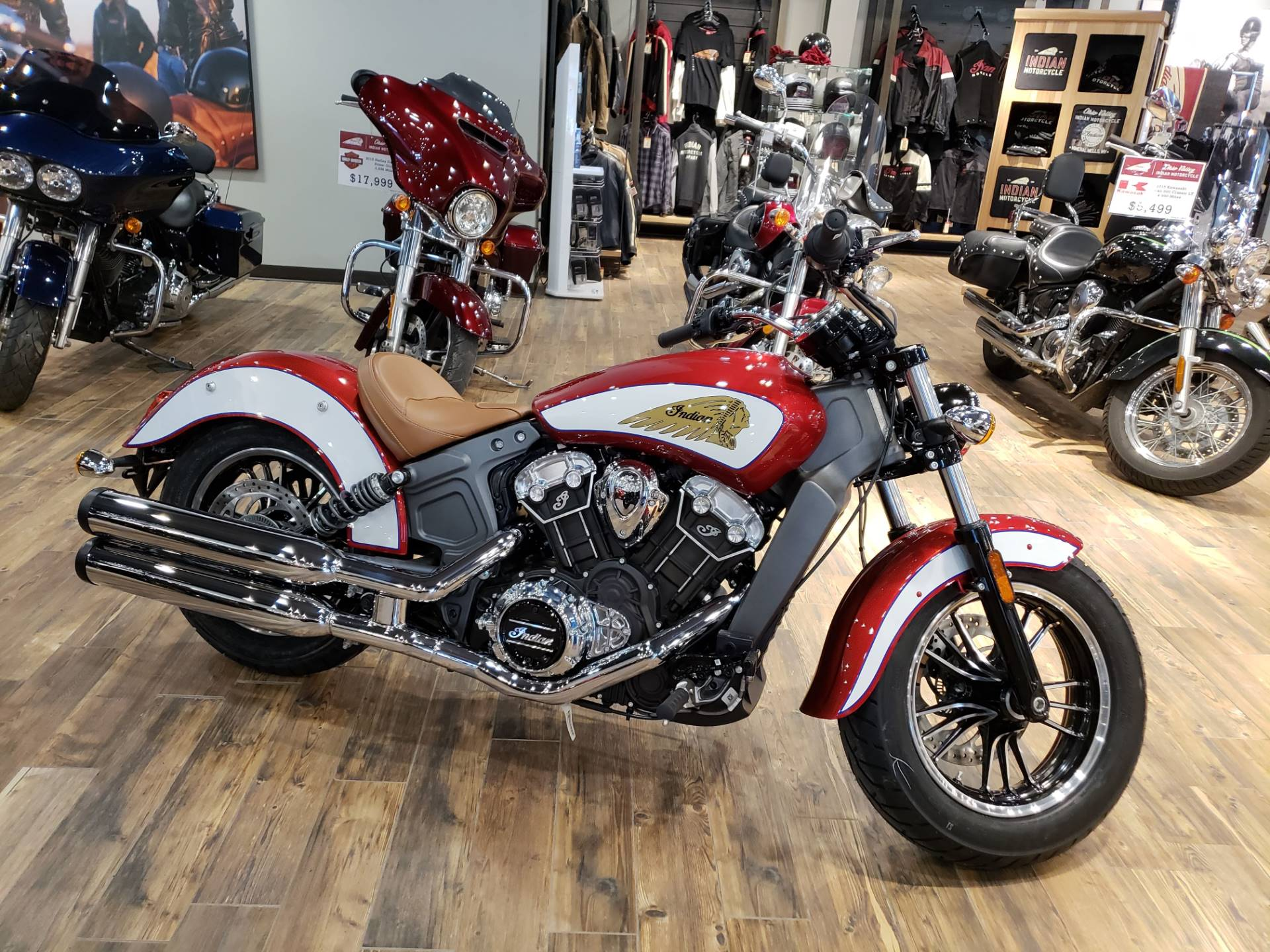 new 2019 indian scout® abs icon series ruby metallic / white