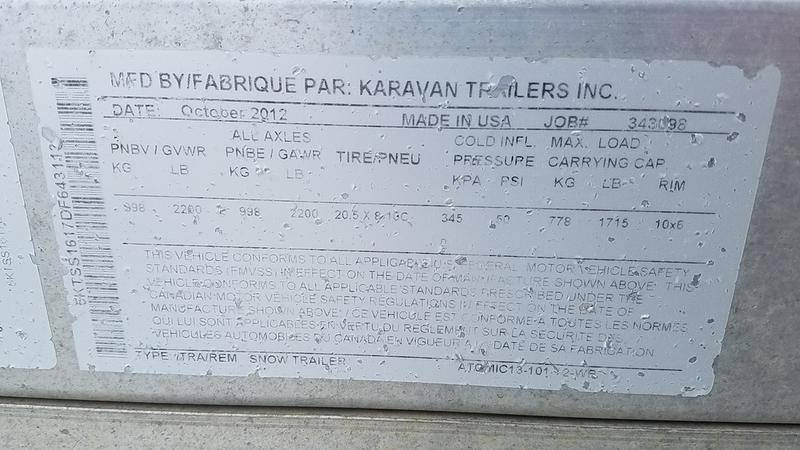 2013 Karavan Trailers KARAVAN ATOMIC SNOW TRLR in Devils Lake, North Dakota - Photo 2