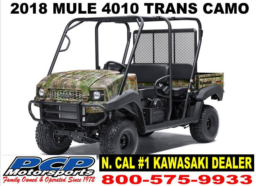 New 2018 kawasaki mule 4010 trans4x4 camo utility vehicles for California department of motor vehicles sacramento