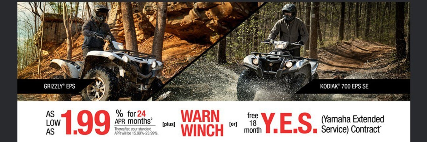 Yamaha ATVs from Donahue Super Sports Wisconsin Rapids, WI as low as 1.99%