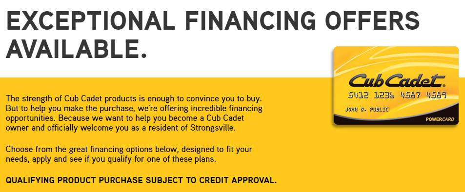 Cub Cadet - Sheffield Financial Promotional Financing Offers