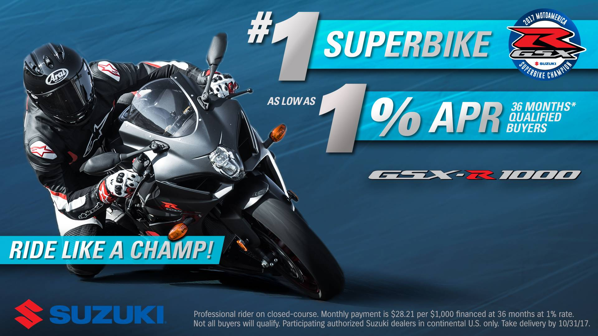 Suzuki Motor of America Inc. Suzuki GSX-R1000 Ride Like A Champ!