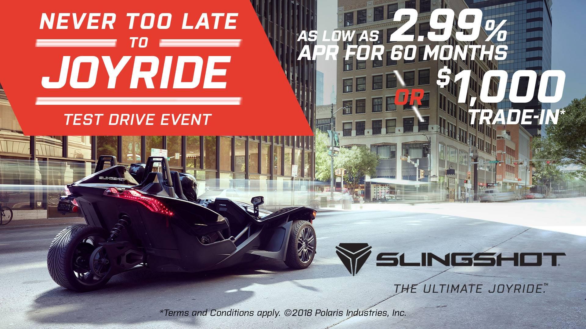 Slingshot Never Too Late to JOYRIDE Test Drive Event