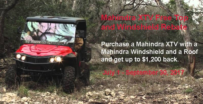 Mahindra XTV Free Top and Windshield Rebate