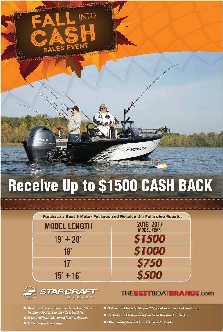 Starcraft Fall Into Cash Sales Event Fishing Boats