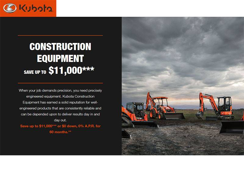 Kubota - Construction Equipment Save up to $11,000