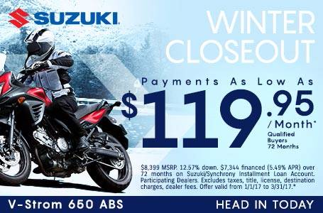 Suzuki Motor of America Inc. Suzuki Payments as Low As $119.95