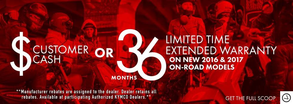 Kymco Customer Cash or Extended Warranty On-Road