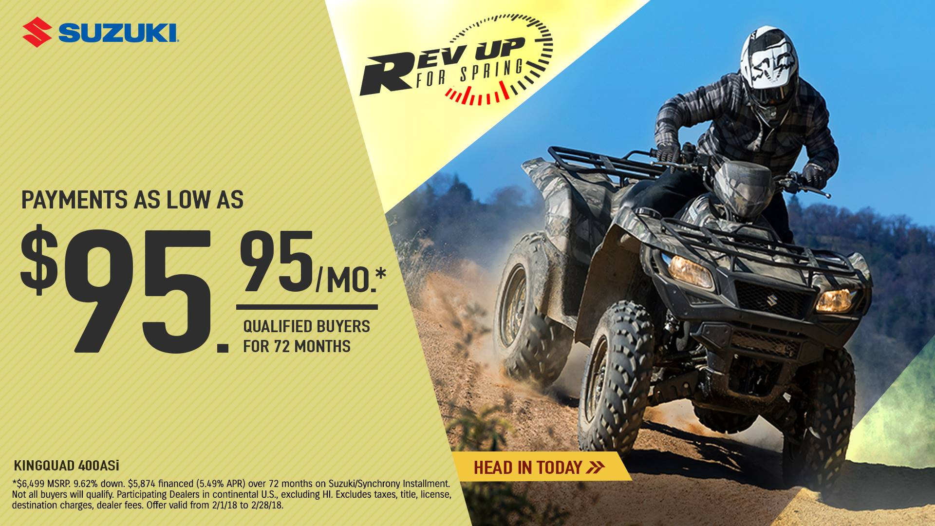 Suzuki Motor of America Inc. Suzuki - Rev Up for Spring for Utility Sport and Sport ATV
