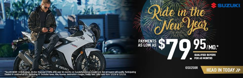 Suzuki Motor of America Inc. Suzuki Ride in the New Year with Sportbike and Standard Models