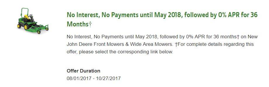 John Deere No Interest, No Payments until May 2018, followed by 0% APR for 36 Months¹