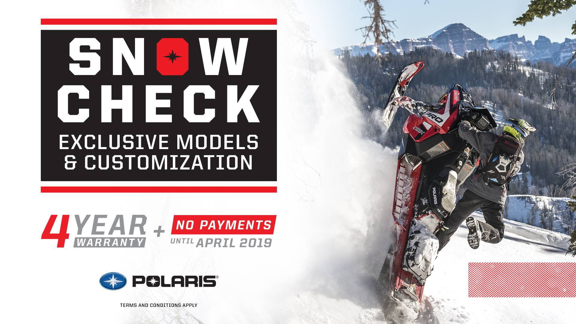 Polaris SnowCheck Models - 4 Year Warranty + No Payments until April 2019