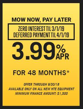 Hustler Turf Equipment Mow Now, Pay Later - 3.99% for 48 Months!