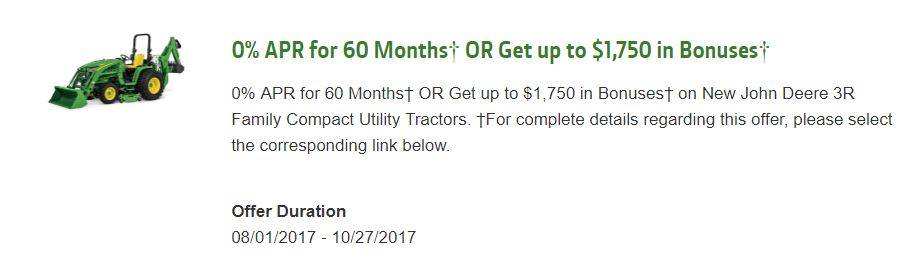 John Deere 0% APR for 60 Months¹ OR Get up to $1,750 in Bonuses4