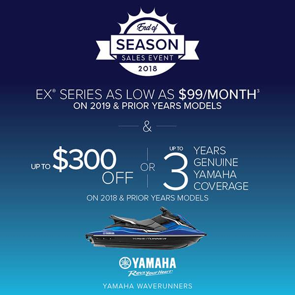 Yamaha Waverunners - EX SERIES AS LOW AS $99 A MONTH