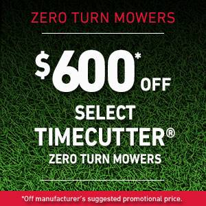 Toro - $600* OFF SELECT TIMECUTTER ZERO TURN MOWERS