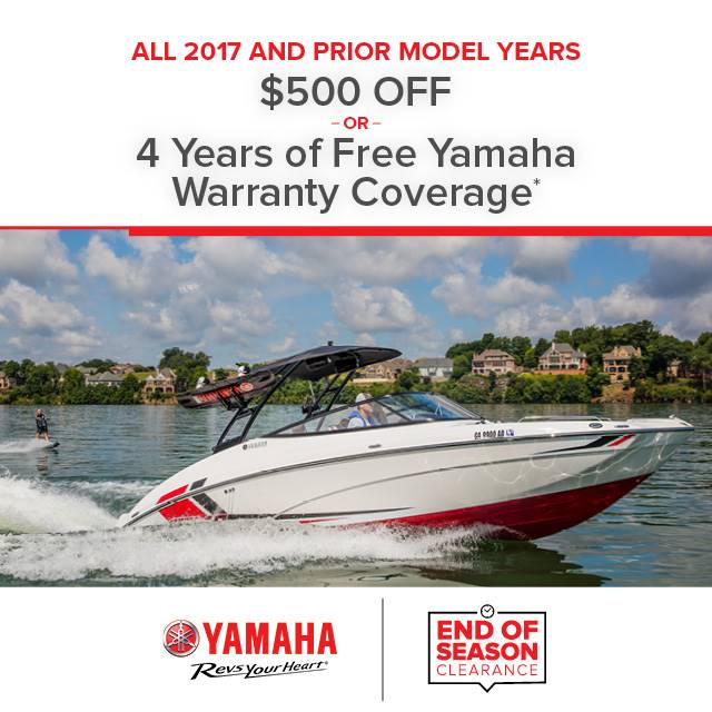 Yamaha Boats - $500 Off or Free Warranty Coverage