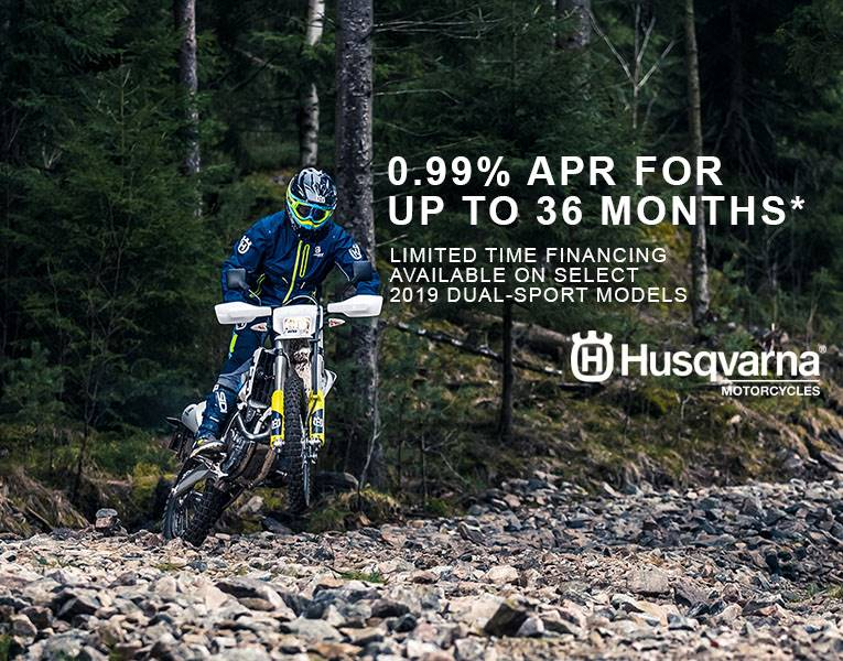 Husqvarna - 0.99% APR* Financing for up to 36 months on Select Dual-Sport Models